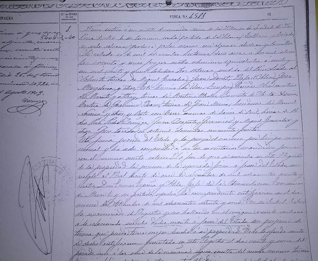 primera inscripción